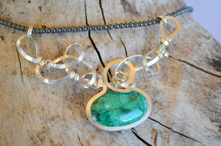 Bijoux d'Artisamor - Collier - Argent - Malachite
