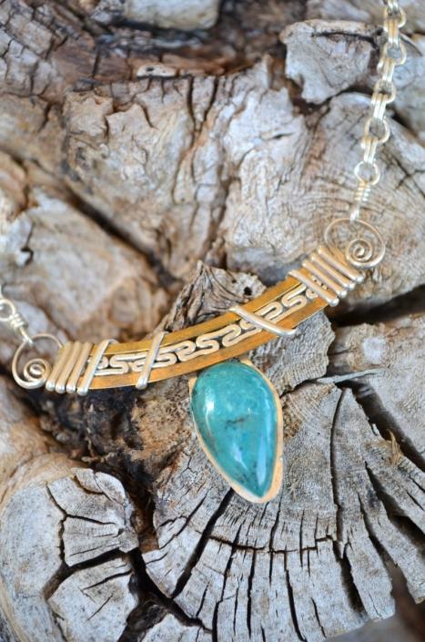 Bijoux d'Artisamor - Collier - Argent - Laiton - chrysocolle