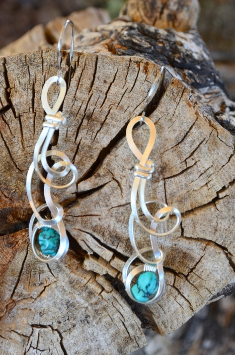 Bijoux d'Artisamor - Boucles d'oreilles - Argent -Turquoise